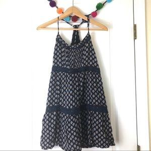 Hollister Navy Pattern Dress w Lace Details Size S